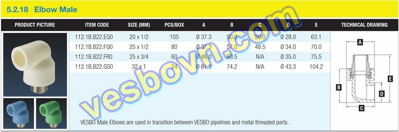 Hình ảnh thông số kỹ thuật của Cút ren ngoài PPR Vesbo