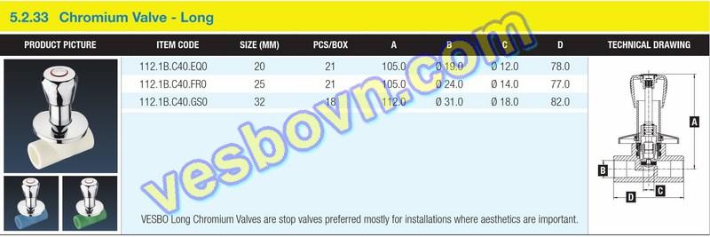Hình ảnh thông số kỹ thuật của van innox dài PPR Vesbo
